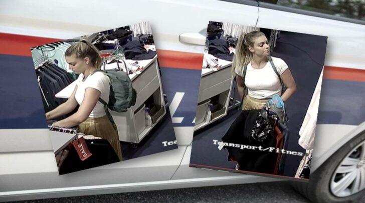 Die Unbekannte steht im Verdacht, Sportbekleidung im Wert von mehreren Tausend Euro gestohlen zu haben.