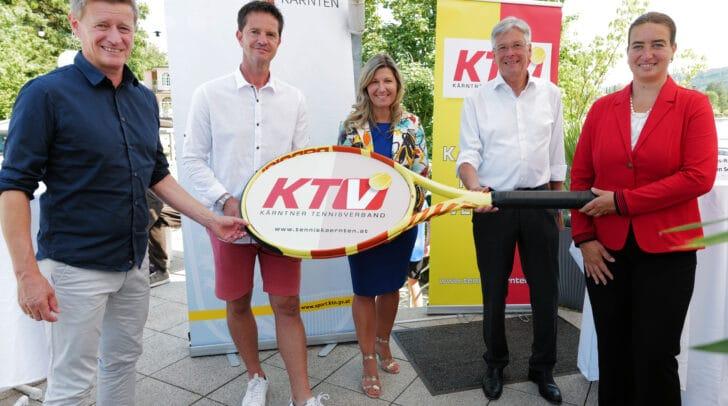 Arno Arthofer, Gernot Dreier (Turnier-Veranstalter), Christina Toth (ÖTV-Präsidentin), LH Peter Kaiser und Bgm. Silvia Häusl-Benz.