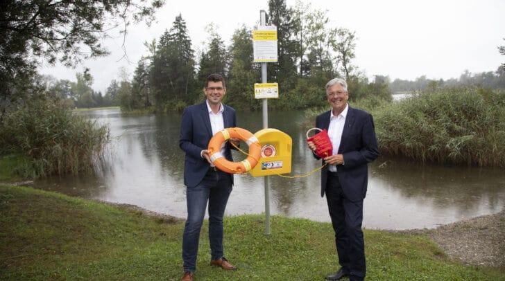 Eröffnung des 24. freien Seezuganges am Reßnigteich in  Ferlach. Mit LR Martin Gruber und  LH Peter Kaiser.