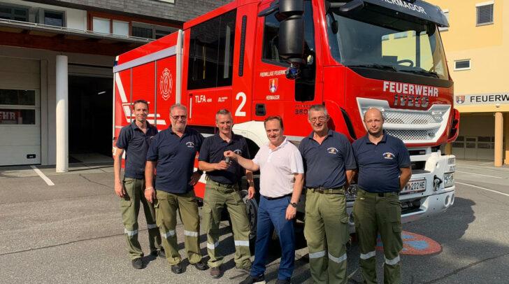 Rene Pettauer, Günther Jury, Kdt. Christof Rohr, Bgm. Siegfried Ronacher, Horst Wernitznig und Andreas Zlöbl