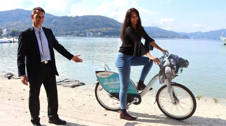 Carolina Petschnig (Umweltabteilung im Magistrat Klagenfurt) und Christian Karlbauer (Klagenfurt Mobil GmbH) mit dem nextbike
