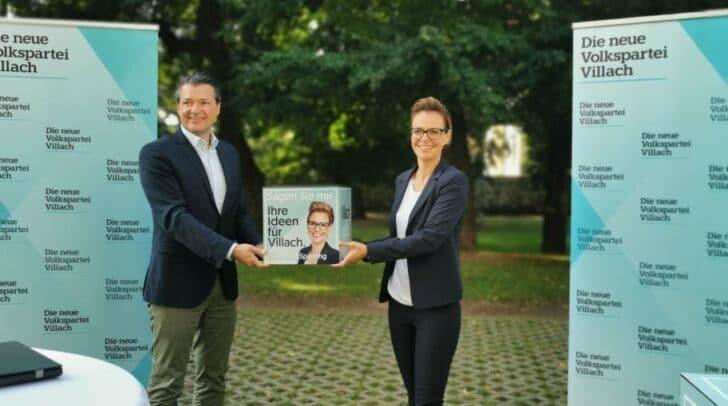 Nationalratsabgeordneter Peter Weidinger und Katharina Spanring, Spitzenkandidatin der ÖVP Villach.