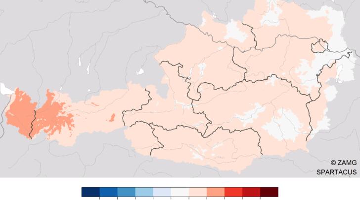 <b></noscript>Temperatur im Sommer 2020:</b> Abweichung der Temperatur vom vieljährigen Mittel 1981-2010. Auswertung mit SPARTACUS-Daten bis inkl. 27.8.2020.