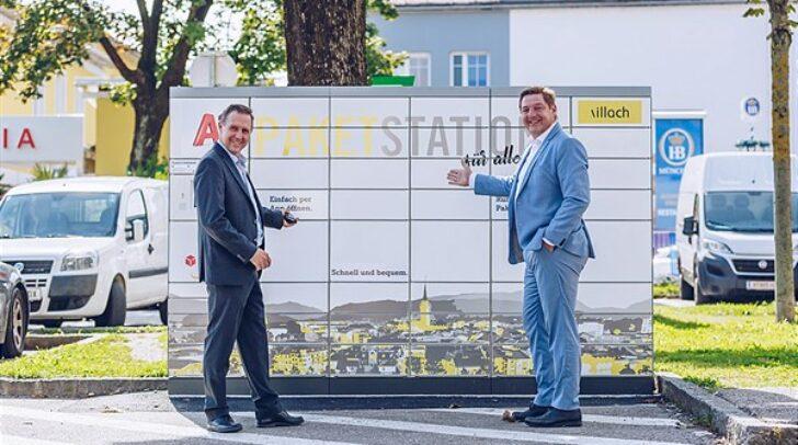 Bürgermeister Günther Albel und Helmut Smole von A1 bei der neuen Paket Station in der Gerbergasse.