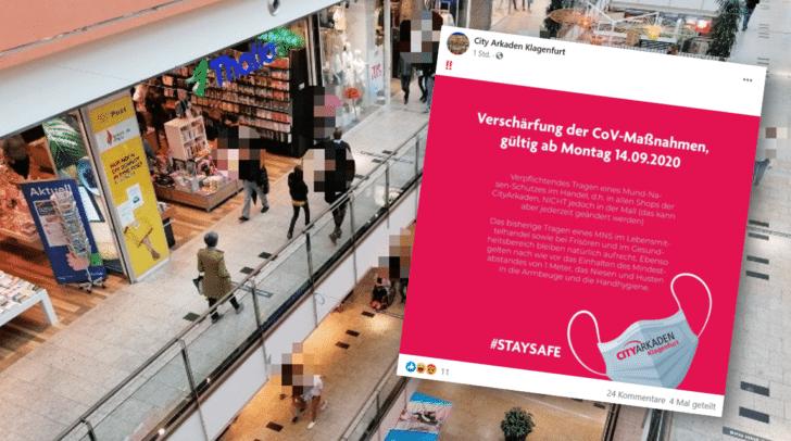 Wie die Betreiber der City-Arkaden auf Facebook mitteilen, darf der Mund-Nasen-Schutz in der Mall abgenommen werden.