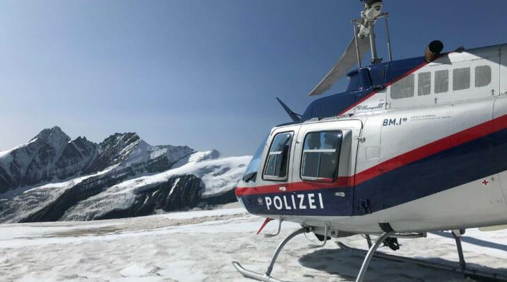Landung am Übergang zwischen Bockkarkees und Pasterzenboden mit Blick auf den Großglockner auf über 3.000 Metern