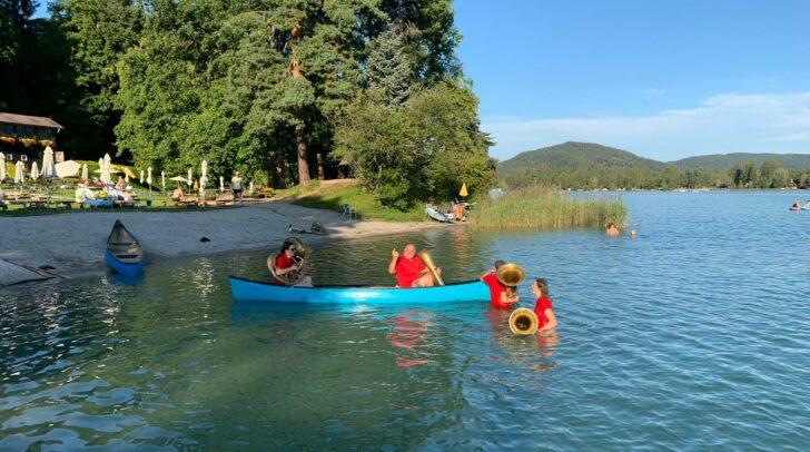 Das Tuben-Quartett im Faaker See.