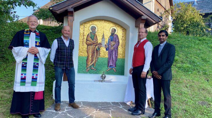 v.l.n.r.: Pfarrer Josef-Klaus Donko, Diakon Peter Granig, Obmann des Pfarrgemeinderates Dieter Mansfeld und Kaplan Jinu Joseph