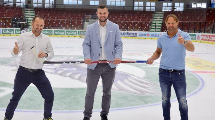 Heimische Unternehmer unterstützen die Adler! Am Bild v.l.n.r.: Christian Nageler, VSV-GF Andreas Napokoj und Adolf Nageler.