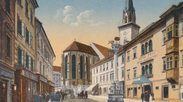 Der Villacher Hauptplatz nach dem Abriss des Rautterhauses.