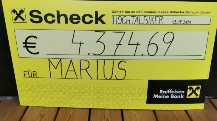4.374,69 Euro wurden bei dem Hochtal-Biker Flohmarkt gesammelt.