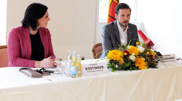 Im Bild: BM Elisabeth Köstinger und LR Sebastian Schuschnig.