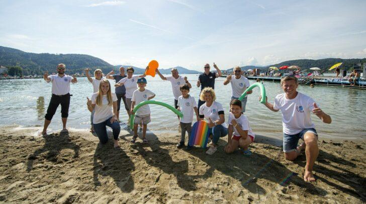 Schwimmoffensive gemeinsam mit  LH Peter Kaiser LHStv. Beate Prettner  und Arno Arthofer