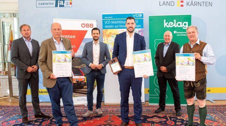 Reinhard Wallner (OEBB), Martin Hitz (Universitaet Klagenfurt), LR Sebastian Schuschnig, Philipp Hungerlaender (RUDi), Willhelm Novak (VCOE) und Dietmar Rossmann (Biosphaerenpark Nockberge)