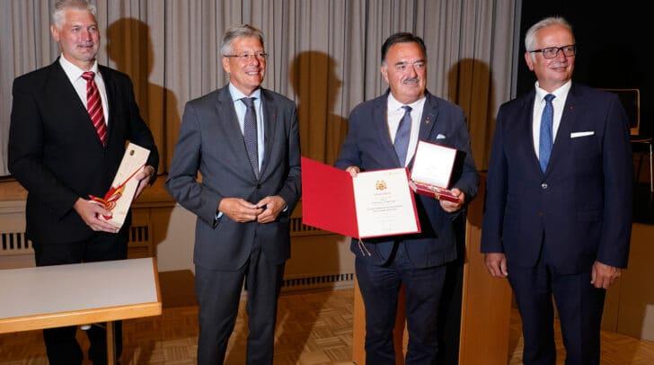 v.l.n.r.: Guntram Perdacher, LH Peter Kaiser, Heinrich Kattnig und LT-Präsident Reinhart Rohr;