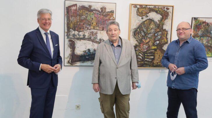 LH Peter Kaiser mit Künstler Franz Moro und Alexander Gerdanovits (Leiter Abt. Kunst - Klagenfurt).