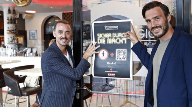 """WK-Gastronomie Obmann Stefan Sternad mit René Schoahs beim Probelauf zur Aktion """"Sicher durch die Nacht"""""""