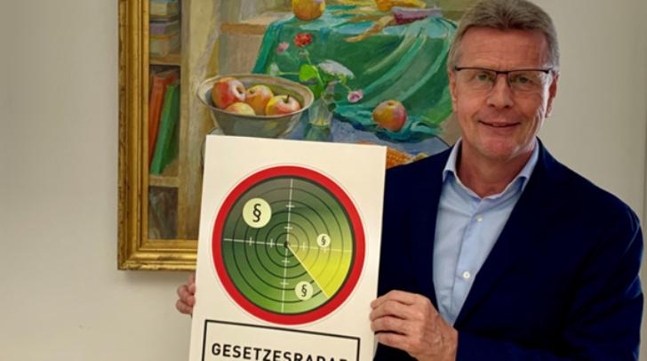 WK-Spartenobmann Michael Velmeden präsentiert den Gesetzesradar.