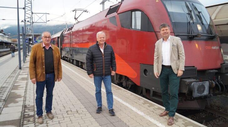 Kämpften gemeinsam mit anderen Oberkärntner Gemeinden für Wiedereinführung der Zugverbindung: Die Initiatoren Gerald Preimel (Bürgermeister Lurnfeld), Peter Neuwirth (Vizebürgermeister Spittal) und Spittals Bürgermeister Gerhard Pirih (von links)
