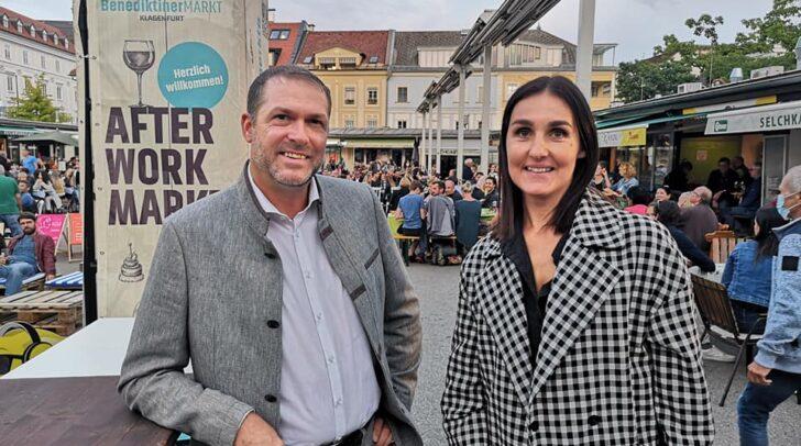 Marktreferent Stadtrat Markus Geiger und Marina Virgolini von Stereo-Media sind stolz auf den Erfolg des After Work Markts am Benediktinerplatz.
