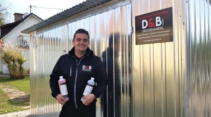 Geschäftsführer Daniel Buglnig hat im D&B Grosshandel alles rund ums Thema Hygiene im Sortiment.