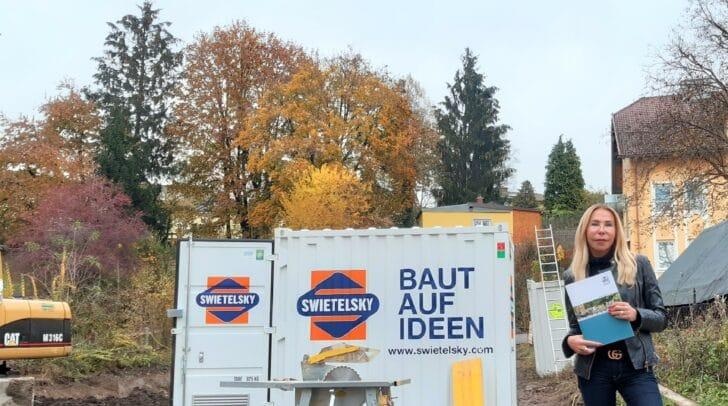 Belinda Huber, Kooperationspartnerin von Nageler Immobilien, hat uns mit auf die Baustelle bei Villach/Lind genommen.