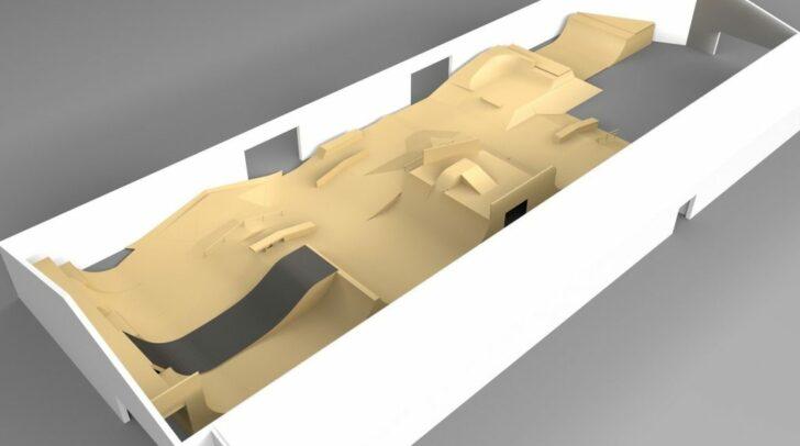 So soll das neue Setup im Indoor-Skatepark aussehen.