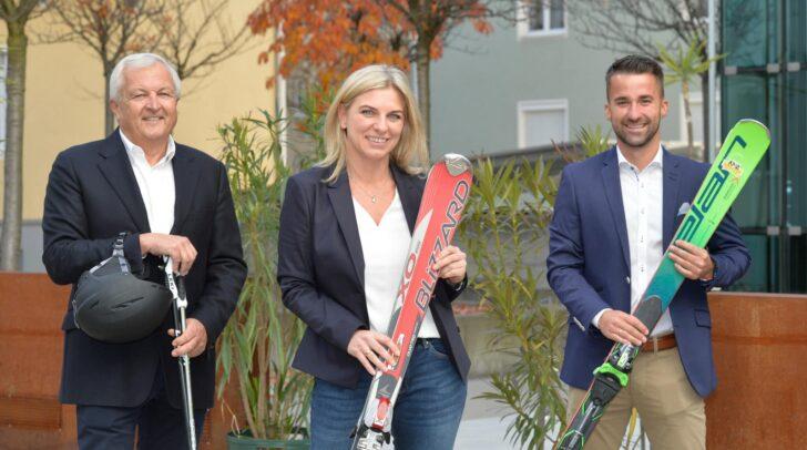 Wolfgang Löscher vom Kärntner Skipass, Alexandra Bresztowanskzky vom Hochrindl und WK-Obmann Manuel Kapeller-Hopfgartner