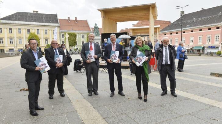 Am Bild: Markus Malle, Igor Pucker, Helmut Konrad,  LH Peter Kaiser,  Bgm. Maria-Luise Mathiaschitz, Christian Wieser