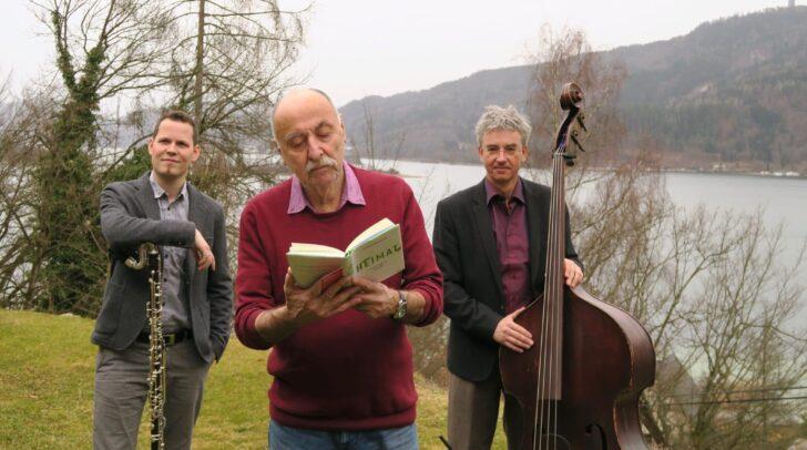 Pickl (Lesung), Fellner (Bassklarinette) und Gfrerrer (Kontrabass, Percussion)