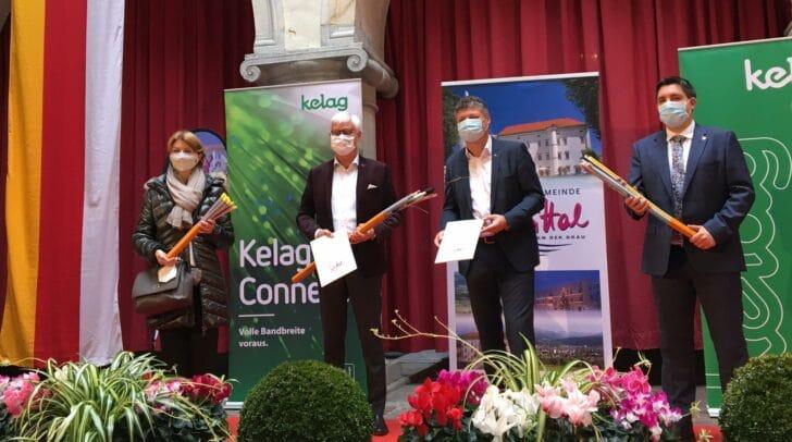 LH-Stv. Gaby Schaunig, Kelag-Vorstandssprecher Manfred Freitag,  Bürgermeister Gerhard Pirih und LAbg. Christoph Staudacher.