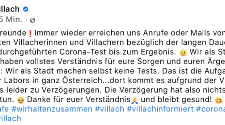Dieses Posting veröffentlicht die Stadt Villach vor kurzem.