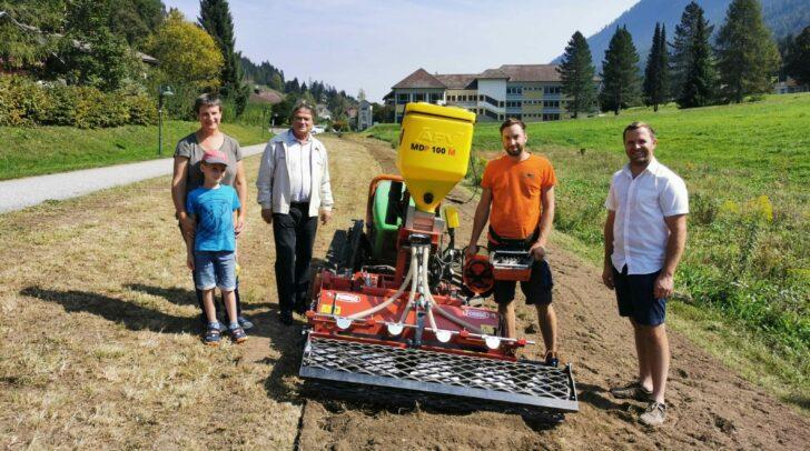 Besichtigung mit Gerhild Wulz-Primus (Arge NATURSCHUTZ), Vizebürgermeister Gerald Almasy, Arbeiter Thoma Astner und Bürgermeister Christian Hecher.