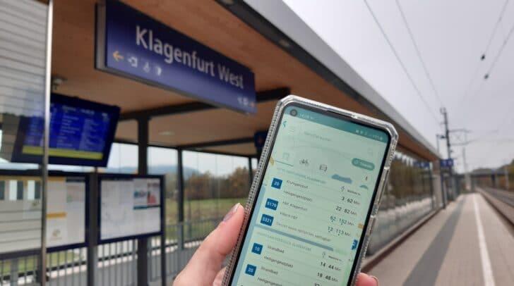 Klagenfurt Mobil zeigt auch die Bahnverbindungen der ÖBB an.