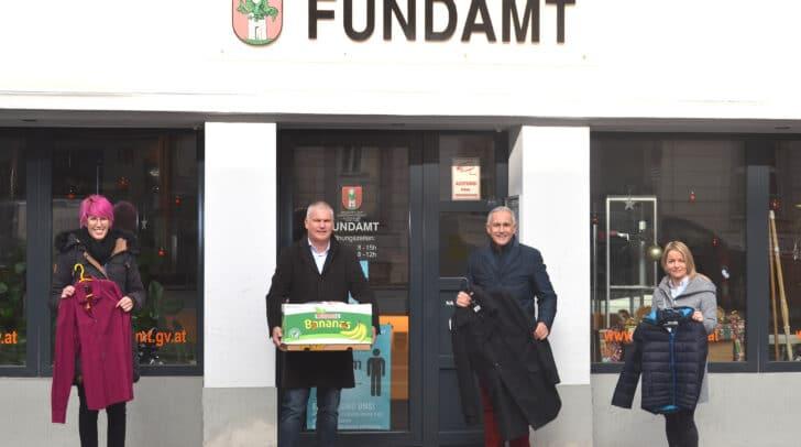 Katrin Starc (Caritas Kärnten), Dietmar Podobnig (Fundamt Klagenfurt), Vizebürgermeister Jürgen Pfeiler und Annemarie Gruber (Fundamt Klagenfurt).