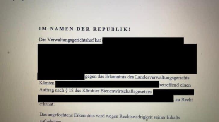 Am Verwaltungsgerichtshof in Wien wurde dem Kärntner Imker recht gegeben.