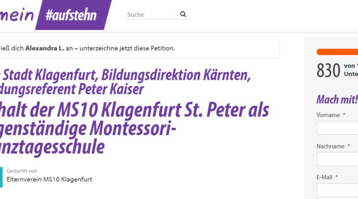 Der Elternverein hat eine Petition für den Erhalt der MS10 Klagenfurt St. Peter als eigenständige Montessori-Ganztagesschule gestartet.