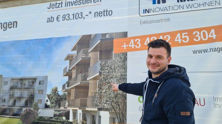 Hier entstehen in ökologisch nachhaltiger Holzmassivbauweise 2- und 3-Zimmer-Wohnungen mit großzügigen Freiflächen, zeigt uns Projektberater Andreas Orter.