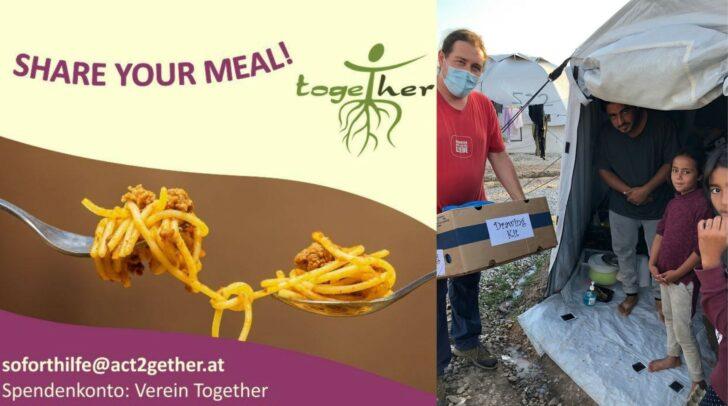 """Unter dem Motto """"Share your meal"""" bittet der Together-Verein um Geldspenden für den Transport nach Griechenland"""