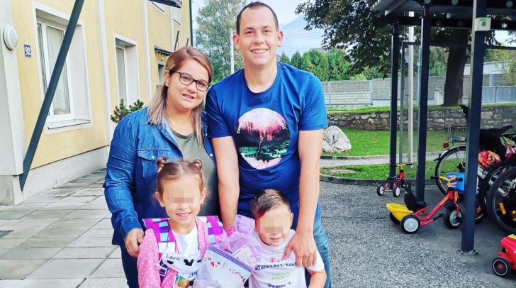 Jovanka und Alexander Palle mit ihren beiden Kindern Lara und David. Derzeit steht die Villacher Familie vor großen Problemen.
