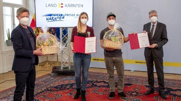 Ehrung der Kärntner Sportlerinnen und Sportler des Jahres 2020. - Bild zeigt: Landessportdirektor Arno Arthofer, Sabine Schoeffmann, Alexander Payer und LH Peter Kaiser.