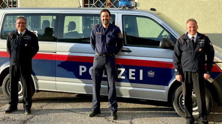 Am Bild v.l.: AFK Johann Schöffmann, PI-Kommandant David Proprentner und BFK Friedrich Monai.