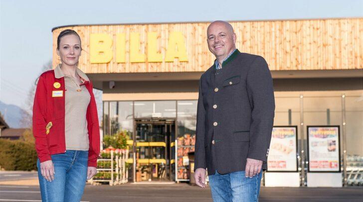 v.l.: Manuela Raffelsberger (BILLA Marktmanagerin in Finkenstein) und Gernoth Bacher (BILLA Vertriebsmanager) freuen sich über die Eröffnung des neuen BILLA-Marktes in Finkenstein.