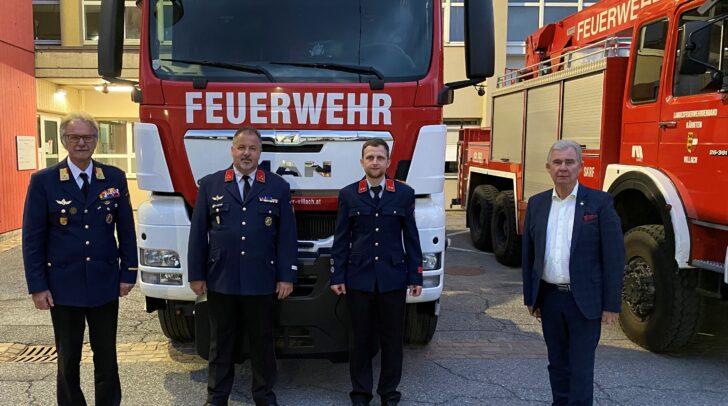 Das wieder gewählte Kommando der HFW (mitte). Am Bild v.l.: OBR Andreas Stroitz, HBI Harald Geissler, OBI Martin Regenfelder und Str. Harald Sobe.