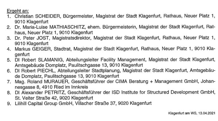 Die Liste der Geladenen in den Kontrollausschuss