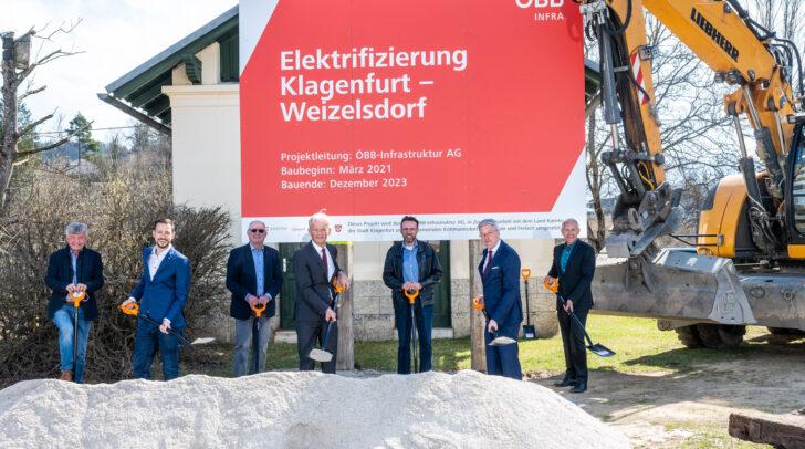 v.l.n.r.:Bgm. Liendl, LR Schuschnig, Bgm. Ragger, VD Bauer, Vize-Bgm. Gamsler, LH Kaiser, Vize-Bgm. Pfeiler
