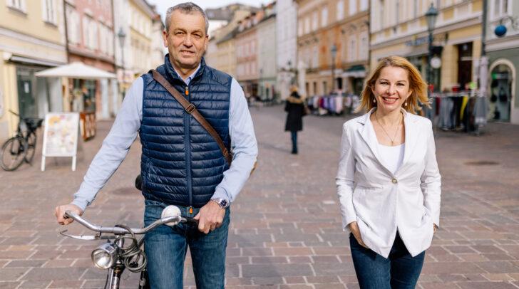 Der neue ÖVP-Stadtrat Max Habenicht und Klubobfrau Julia Löschnig haben große Ziele für die Landeshauptstadt.