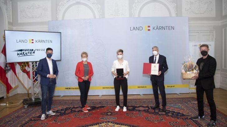 LR Sebastian Schuschnig, Claudia Strobl, Sophie Sorschak, LH Peter Kaiser und Arno Arthofer.