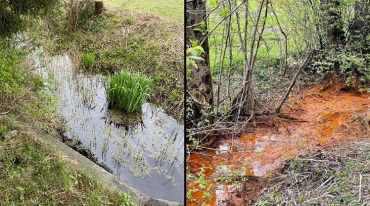 So wie links am Bild sollte das Wasser bei der Altlast-Mülldeponie normalerweise aussehen. Hin und wieder nimmt es aber eine rostbraune Farbe an (rechts am Bild).