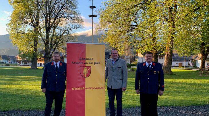v.l.n.r: Kommandant OBI Alexander  Möderndorfer, Bürgermeister Dieter Mörtl, Kommandant-Stellvertreter BI Werner Godez